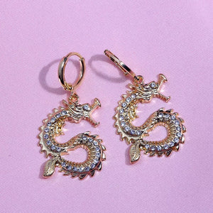 Rhinestone dragon earrings - gold & silver