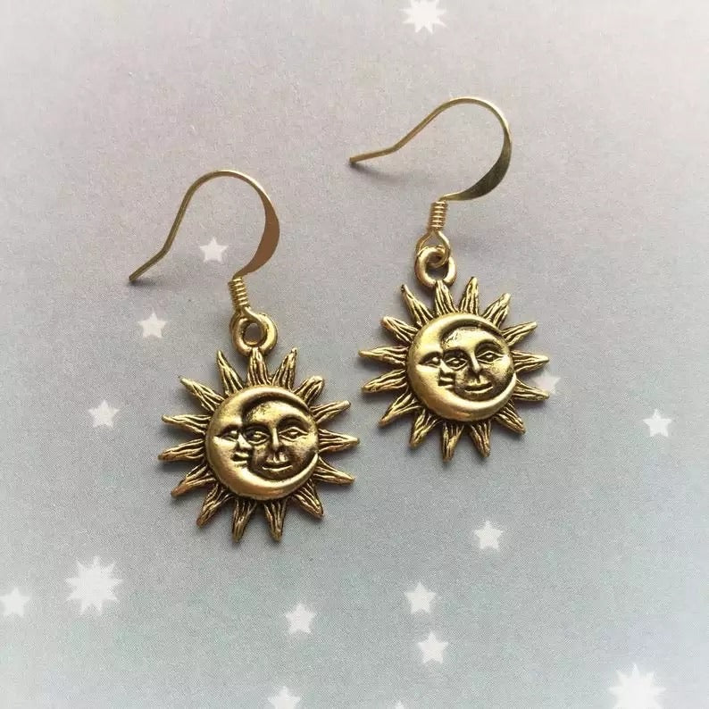 Sun & moon earrings - gold & silver