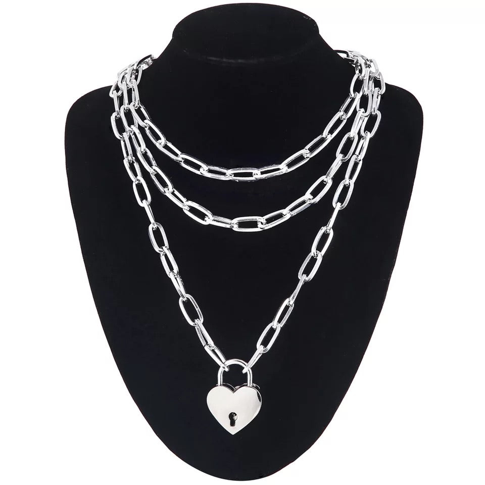 2 chains + padlock heart chunky necklace set