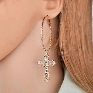 Cross earrings - gold & silver