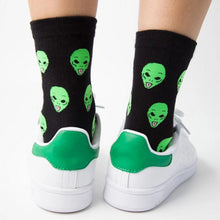 Load image into Gallery viewer, 'We out here' cat & alien crew socks
