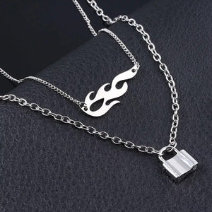 Flame & lock layered necklace