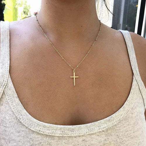 Cross chain necklace - gold & silver