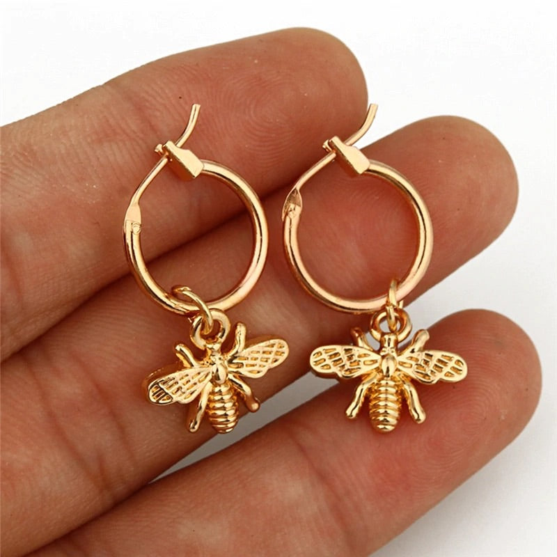 Bee pendant gold earrings