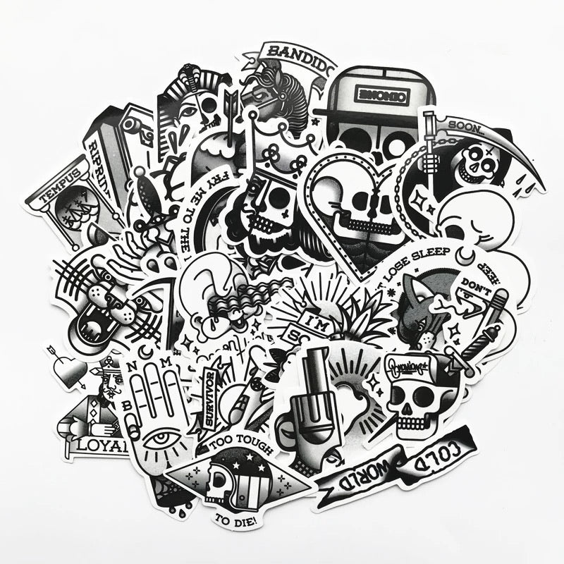B&W old school tattoo stickers - 29 pieces