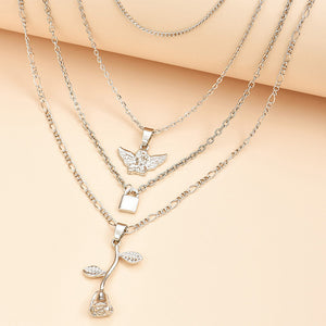 Angel, Rose and Padlock Necklace Set