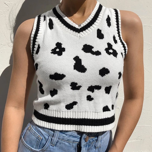 Cow print knitted crop vest