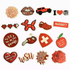 Red theme stickers - 50 pieces