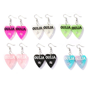 Glitter Ouija Planchette earrings - 6 colours