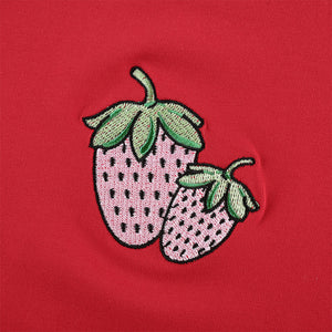 Embroidered Strawberry Crop Top