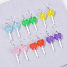 Load image into Gallery viewer, Heart Lollipop Earrings - 11 colours