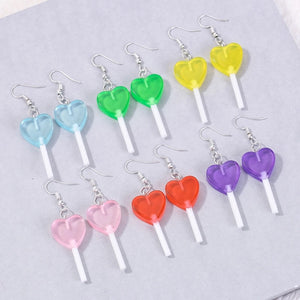 Heart Lollipop Earrings - 11 colours