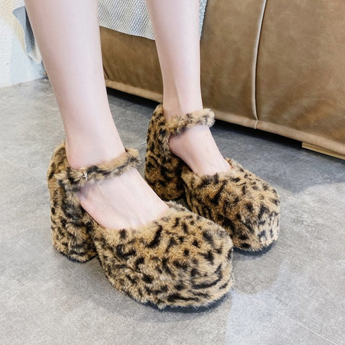 Fluffy Leopard Print Shoes