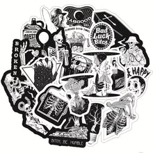 Load image into Gallery viewer, B&w skeleton stickers - 50 pieces