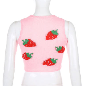 Strawberry knitted crop vest