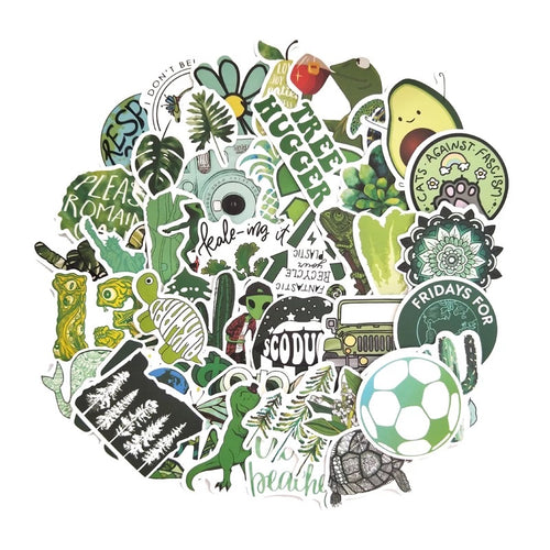 Green theme stickers - 50 pieces