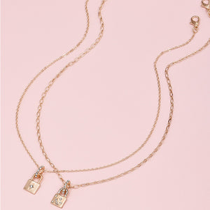 Star & Moon Lock Necklace Set