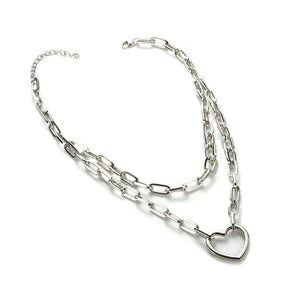 Double layer heart chain necklace