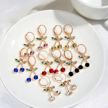 Load image into Gallery viewer, Rhinestone Cherry Earrings - 12 Colours