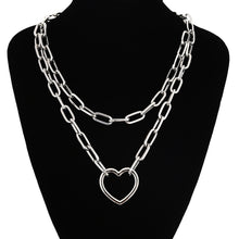Load image into Gallery viewer, Double layer heart chain necklace
