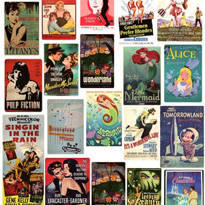 Retro movie poster stickers - 44 pieces