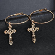Load image into Gallery viewer, Cross earrings - gold & silver
