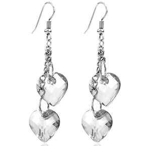Heart dangle earrings -  7 colours