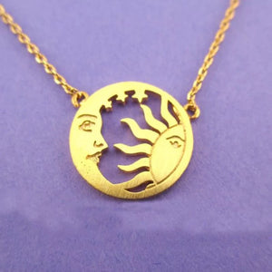 Delicate sun and moon necklace