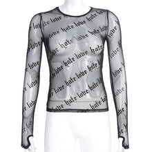 Load image into Gallery viewer, 'Love or hate' long sleeve mesh top