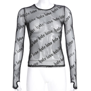 'Love or hate' long sleeve mesh top
