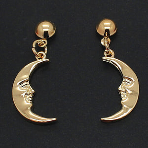 Crescent moon earrings - gold & silver
