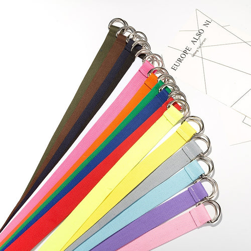 Long D ring buckle belt - 15 colours