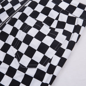 'Checkmate' checkered full zip pants