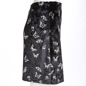 'Butterfly fly away' high waist velvet skirt