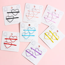 Load image into Gallery viewer, 2 piece heart or star hair pins - 7 colours