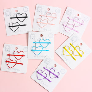2 piece heart or star hair pins - 7 colours