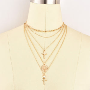5 layer choker necklace - gold and silver