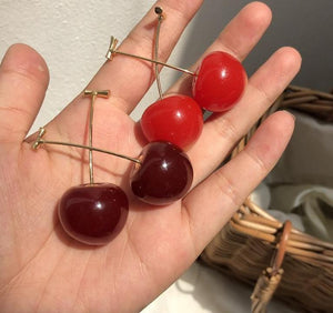 Cherry dangle earrings - red and purple