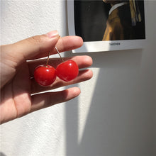 Load image into Gallery viewer, Cherry dangle earrings - red and purple