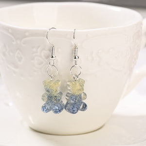 Gradient glittery gummy bear earrings- 13 colours