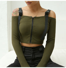 Carica l'immagine nel visualizzatore di Gallery, 'Tactical' zip up crop top - army green, blue, black & khaki