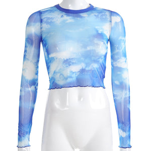 'Head in the clouds' long sleeve mesh top