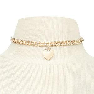 Chunky chain heart pendant choker - silver & gold