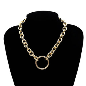 Chunky chain choker necklace - silver and gold