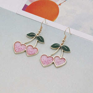 'Cherry lover' glitter earrings - red & pink