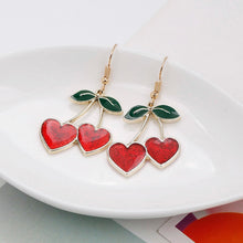 Load image into Gallery viewer, 'Cherry lover' glitter earrings - red & pink