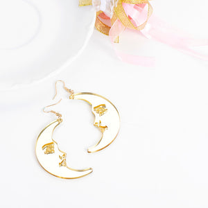 Big gold moon earrings