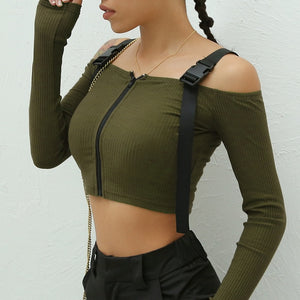 'Tactical' zip up crop top - army green, blue, black & khaki