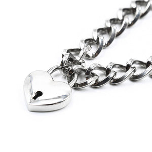 'Heart on lock' chunky chain choker necklace