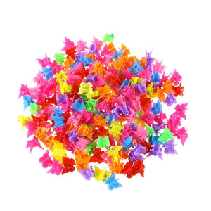 100 Pieces Hair Clips - Butterfly, shell, heart, star & flower